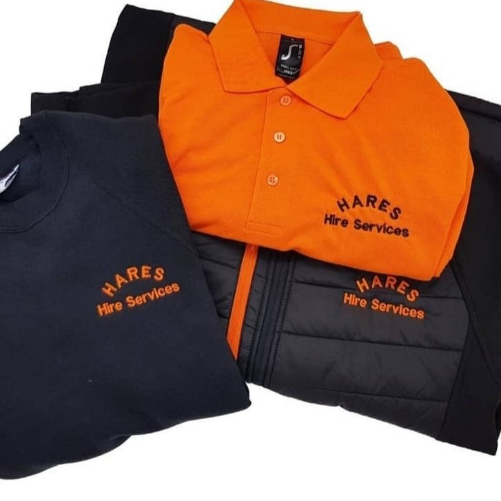 Hares Hire fully kitted out in Jumpers, Polo's and Padded Jackets.
