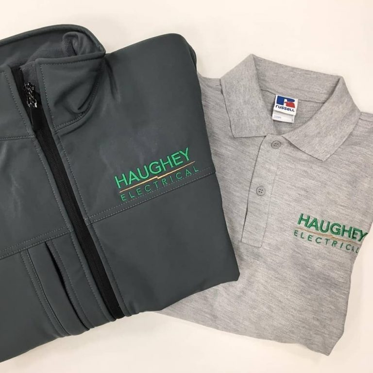 Haughey Electrical Soft Shell Jackets and Polos Embroidered with Personalised Logo