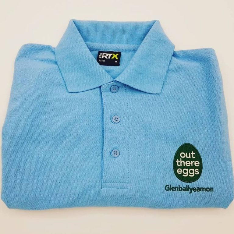 Out There Egg Embroidered Polo Shirts